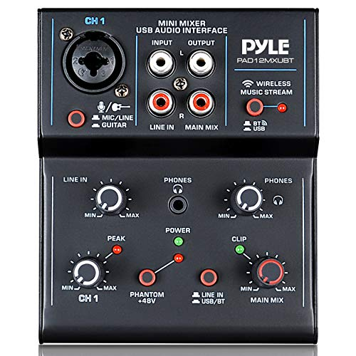 Professional Wireless DJ Audio Mixer - 2-Channel Bluetooth DJ Controller Sound Mixer w/USB Audio Interface, RCA in, Combo Jack XLR+6.35mm Microphone/Line/Guitar in, Headphone Jack - Pyle PAD12MXUBT