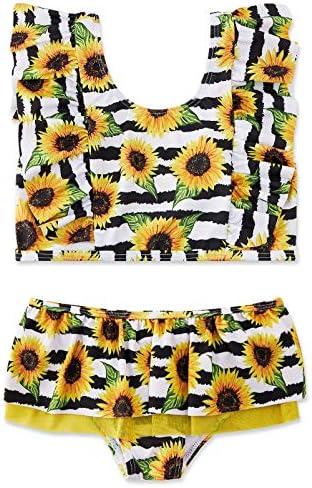 swimsobo Girls Swimsuits Sunflower Printed Bathing Suit Cute Flutter Sleeve Swimwear Bikini product image