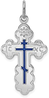925 Sterling Silver Eastern Orthodox Blue Enamel Cross Religious Pendant Charm Necklace Fine Jewelry Gifts For Women For Her