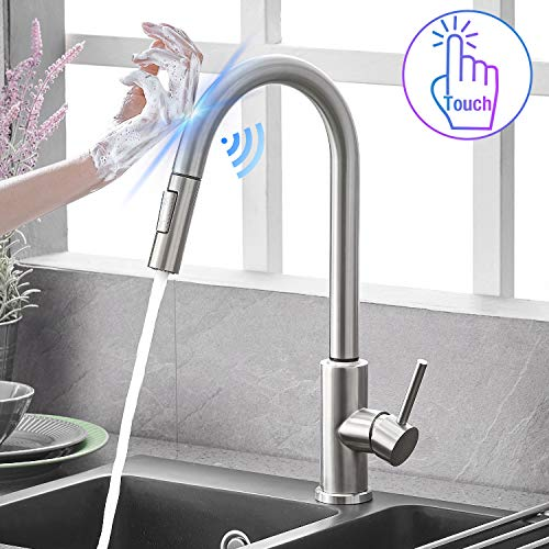 Qomolangma Touch Sensor Kitchen Faucets with Pull...