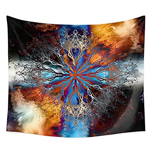 KBIASD Árbol de Vida con meditación étnica Floral Tapiz de Arte Espiritual Colgante de Pared para decoración de Dormitorio 200x150cm