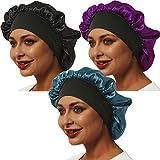 3 Pcs Satin Bonnet, Soft Bonnets for Black Women Hair Bonnet Hair Cover, Sliky Bonnet Luxurious Fabric Premium Elastic Wide Band for Women Haircare Hair Loss(Normal Size, 3 Pcs-Black+Purple+Green)