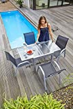 Ausziehtisch Gartentisch Terrassentisch | 70x70 cm | Grau | Aluminium | Glas | Ausziehbar