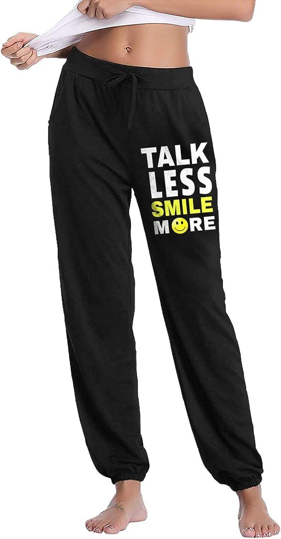 Talk Less Smile More Women's Cotton Long Pants with Pockets Workout Casual Sweatpants Drawstring Waist Jogger