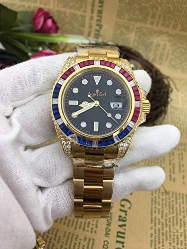 GFDSA Automatische horloges Luxe merk Heren Automatisch Mechanisch Regenboogdiamanten Roestvrij staal Goud Zwart Blauw Groen Klassiek Herenhorloge