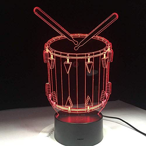 3D Night Lamp Safety First, Music Drum Art Table Atmosphere Night As Holiday Foyer Office Desk Lighting Led Lamps Lamp Gifts Decoration Room Toys Children Baby Kids Gift Bedside Light Birthday Decor