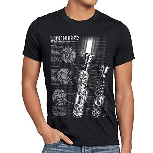 style3 Laserschwert Blaupause Herren T-Shirt Jedi Lichtschwert, Größe:XXL, Farbe:Schwarz