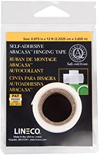 Lineco Self-Adhesive Hinging Tape, Acid-Free Abaca Paper, 0.875 inch X 12 Foot Roll (533-0754M)