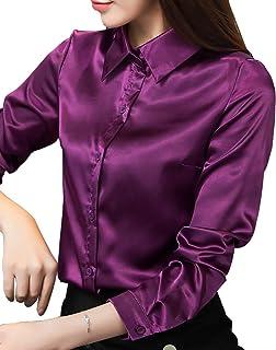 74ee128b8 YI Heng MEI Women's Classic Satin Long Sleeve Button Down Shirt Blouse Top  Business Workwear