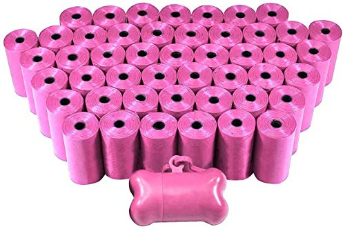 EcoKind Pet Treats 1000 Dog Thick Pet Waste Poop Bags, Bulk roll,Clean up Refills-(Green, Blue, Purple, Red, Black, Pink,Rainbow of Colors)+Free Bone Dispenser (Pink)