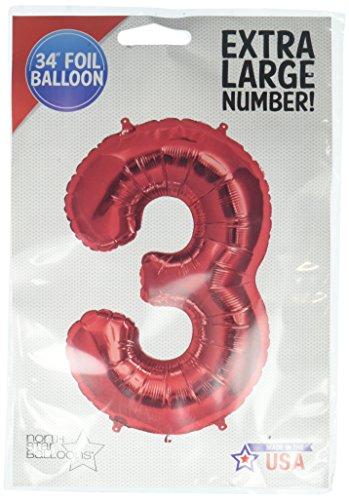 NorthStar Balloons-Ballon Aluminium Chiffre 3 Rouge De 86Cm Non Gonflé