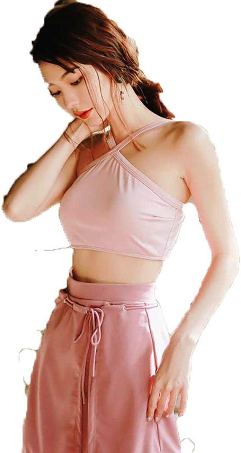 Swimsuit Hanging Neck Split ThreePiece Suit, Gathered Cover Belly Holiday Beach Swimsuit (color  Pink) (color   Pink, Size   L)