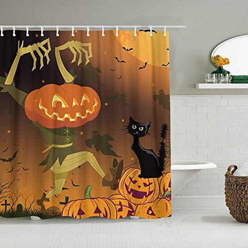 DAHALLAR Duschvorhang,Halloween Kürbis gruselige Katze Kinder,personalisierte Deko Badezimmer Vorhang,mit Haken,180 * 210