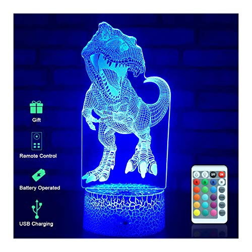 Menzee Dinosaur Toys 3D Night Light for Kids 16 Colors 7 Colors Changing, Dinosaur 3D Lamp Dimmable Best T Rex Toys Birthd...