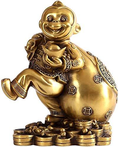 FLYAND Accesorios Decorativos Adornos Feng Shui Oro Chino Zodiaco Mono Estatua Monkey Office Decoración de la Oficina para la Buena Suerte Inicio Delicate Copper Monkey Ornament Feng Shui Decoración