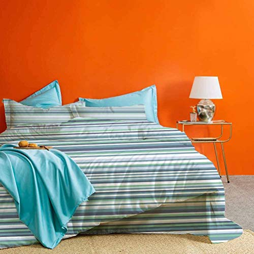 Striped Bedding Set Abstract Narrow Bands Group of Long Same Bars Vintage Geometric Artwork Image Print Best Material/Highly Durable Teal Blue 3 Piece (1 Duvet Cover and 2 Pillowcases) King Size