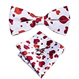 Dubulle Mens Heart Bowtie Red Heart White Christmas Bow Tie with Pocket Square Handkerchief Cufflinks