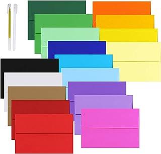 90 Pcs 18 Colors A8 Invitation Envelopes Self Seal Square Flap Envelopes for Wedding Party Invitation 5x7 Photo Envelope R...