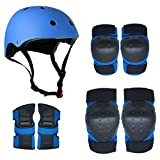Lixada Protective Gear Set 7 in 1 Knee Elbow Pads Wrist Guards Helmet Multi Sports Safety Protection Pads for Kids Teenagers Cycling Scooter Skating Cycling