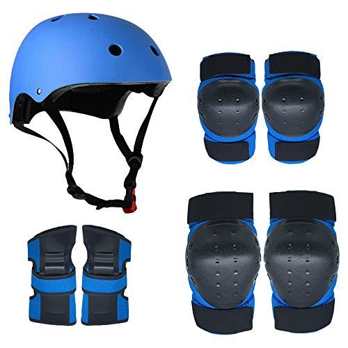 Lixada Juego de 7 rodilleras para casco, rodilleras, coderas, muñequeras, casco, multideporte, protección acolchada para niños y jóvenes