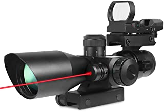 X-Aegis New Style 2.5-10x40 Rifle Scope with Integrated gun sight lasers Dual Illuminated Mil-dot , Rail Mount and 4 Reticle Red and Green Dot Open Reflex Sight