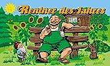 Fanshop Lünen Fahne - Flagge - Rentner des Jahres - Garten - Blumen - Hase - Zwerg - 90x150 cm - Hissfahne mit Ösen -