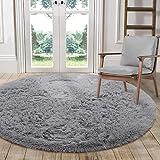 LOCHAS Luxury Round Fluffy Area Rugs for Bedroom Kids Nursery Rug Super Soft Living Room Home Shaggy Carpet 4-Feet, Gray
