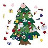 28 Piezas,Fieltro Árbol de Navidad,Felt Christmas Tree,DIY Kids Christmas Tree,Árbol de Navidad del Fieltro,Ornamentos Desmontables,Regalos Colgantes de Navidad de la Pared.(Borde Redondeado)
