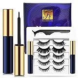 Magnetic Eyelashes with Eyeliner 5 Pairs Reusable Fake Eyelashes No Glue 2 Only Magnetic Eyeliner 3D eyelash sets (Charming Blue)