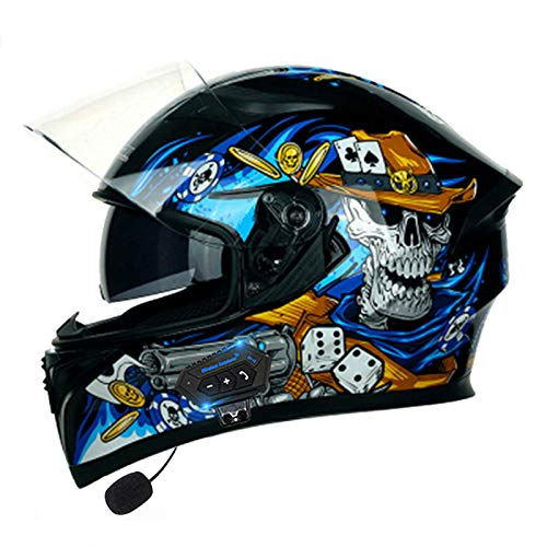 ZLYJ Motorcycle Bluetooth Helmets,Motorbike Modular Full Face Helmets Dual-Speaker Headset,Hands-Free Automatic Answering,DOT Approved Double Visor Helmet J,M
