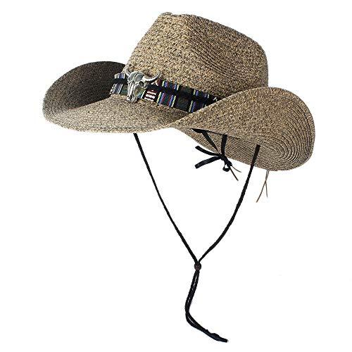 sun hats Unisex Hollow Western Cowboy Hat Lady Dad Beach Straw Panama Cowgirl Jazz Sun Cap Size 56-58CM (Color : Coffee, Size : 56-58)