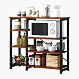 Hicy Kitchen Islands with Storage,3-Tier Microwave Stand,Bakers Rack (Walnut)