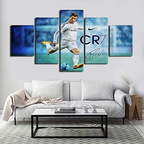 BOYH Wohnzimmer Wand HD-Bild 5 Stücke Drucke auf Leinwand Cristiano Ronaldo Leinwand Poster Modulare abstrakte Gemälde,B,30×50×2+30×70×2+30×80×1