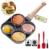 MIHUNTER Sartén para Tortitas, sartén Japonesa Obanyaki Sartén de Aluminio Antiadherente, sartén con 4 Agujeros, para Huevo Frito, Hamburguesa, panqueques para Desayuno, con Mango antiescaldaduras