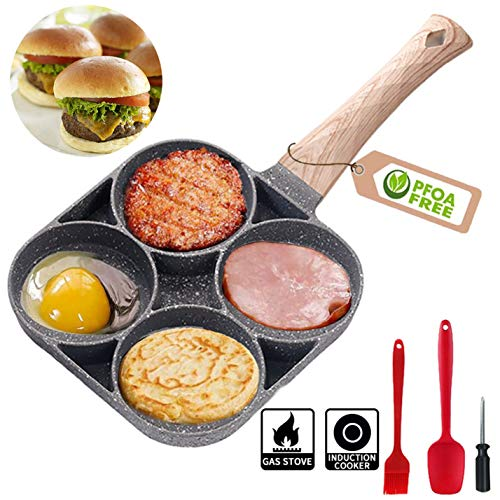 Augenpfanne Spiegelei-Pfanne für 4 Eier Crepepfanne Pancakes Bratpfanne Frikadellen Eierkuchen Eierfladen Palatschinken für Spiegelei, Burger, Frühstückspfannkuchenherstellung, mit Verbrühschutzgriff