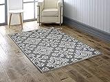 Mia Home Colletion Zara - Tappeto in lana, realizzato a mano, 160 cm di larghezza x 230 cm di lunghezza, colore: Nero