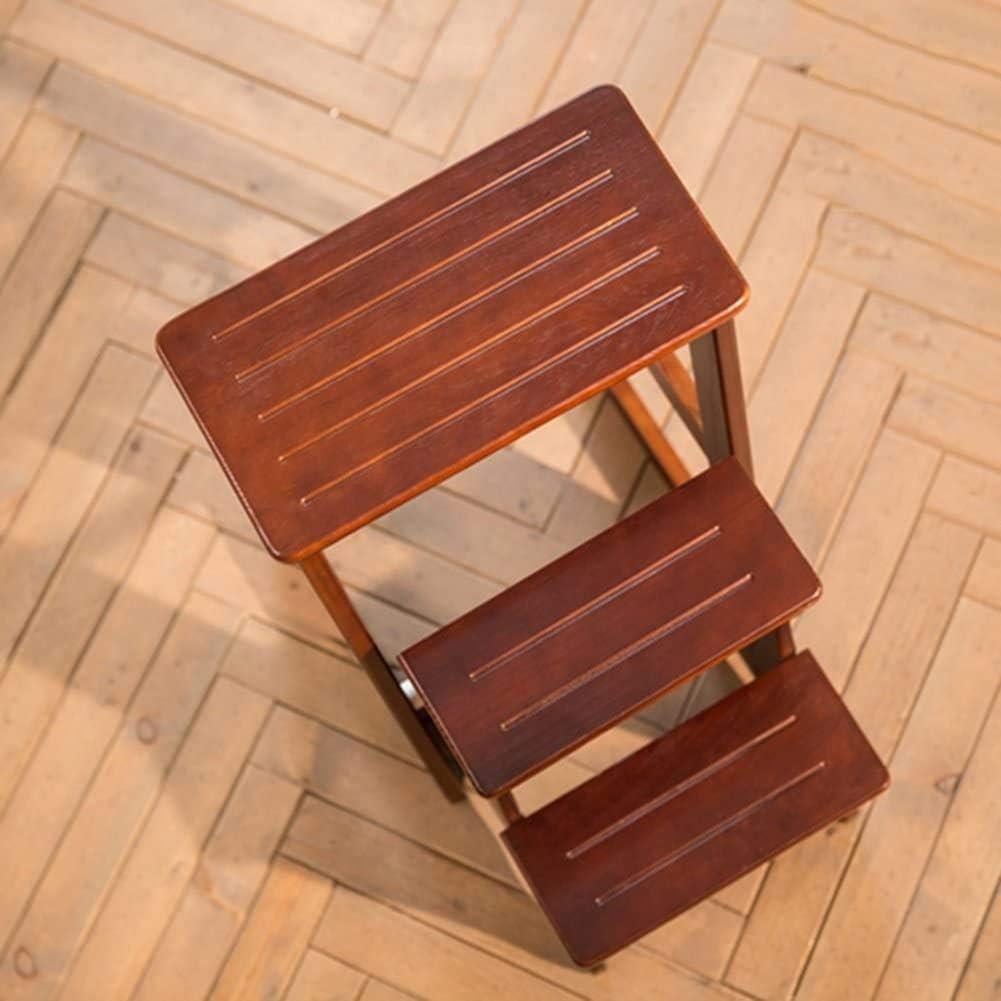 BATOWE Chaise Pliante en Bois Ladder Ladder Tabouret en Bois Pliable à Double Usage 4 (Color : 3#-2 Steps) 1#-3 Steps