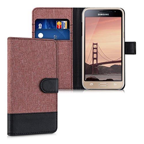 kwmobile Wallet Hülle kompatibel mit Samsung Galaxy J3 (2016) DUOS - Hülle Kunstleder mit Kartenfächern Stand in Altrosa Schwarz
