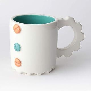 Taza de Cerámica hecha y pintada a mano, Disponible en varios colores, diseño mecánico – 200 ml (Naranja, Turquesa)