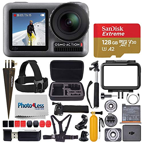 DJI Osmo Action 4K Camera + Extreme 128GB microSDXC Memory Card + Head & Chest Strap + Floating Handle + Medium Hard Case + Handheld Monopod + Spike Mount + Wrist Strap + USB Card Reader – Deluxe Kit