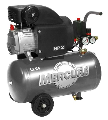 Mercure 425063 compressor, 24 l, 2 PS, kwik, grijs
