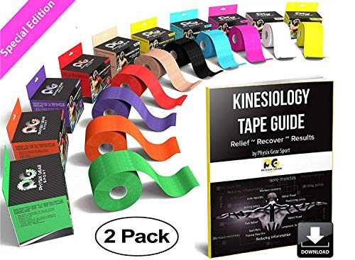 Physix Gear Sport Kinesiology Tape - Free Illustrated E-Guide - 16ft Uncut Roll - Best Pain Relief Adhesive for Muscles, Shin Splints Knee & Shoulder - 24/7 Waterproof Therapeutic Aid (2PK PNK)