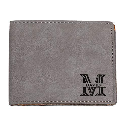 Emenar Custom Personalized Grey Wallet Vegan Leather Bifold Slim Wallet for Men, Perfect Gift, Gray
