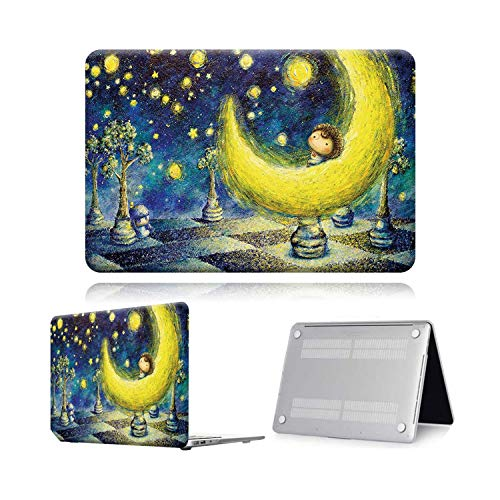 Peach-Girl Case for Macbook Air Pro Retina 11 12 13 15 Touch Bar Painting Laptop Case Cover + Keyboard Protector for Air 13 (A 1932) A2179-Moon Paint-Pro 13 A2159 (2019)