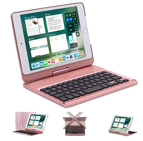LENRICH iPad Mini case with Keyboard 5th 2019 4th 2015 Generation 7.9 inch Backlit, 7 Color Backlight 360 Degree Rotatable 180 Flip Swivel Wireless Folio Cover Hard Shell Auto Sleep Wake up Rose Gold