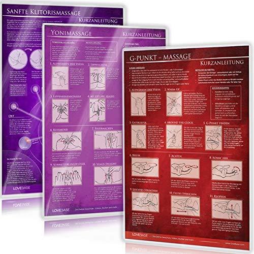 [3er Set] G-Punkt-Massage, Yoni-Massage, Sanfte Klitorismassage: Ideal für die erotische Massage [3 Karten DIN A4 - 2seitig, laminiert]