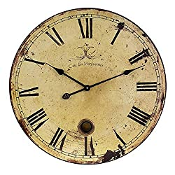 CC Home Furnishings 23 Trendy French Cafe-Weathered Cream-Colored Large Wall Clock