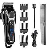Dmsc Kit De Profesional eléctrico inalámbrico Hair Clippers máquina de Afeitar for Hombres/niños/bebé/Barber, Recargable, Pantalla LCD de Titanio de la Cuchilla 4 peines for la Familia
