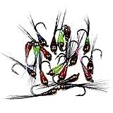 L-MEIQUN, 48 unids/Caja # 14 Gancho tungsteno perdigon NINFA pequeña Cuentas Fly Arco Iris marrón Trucha greating Brook Trucha Pesca rápido Fregadero Volante (Color : 36Pcs)
