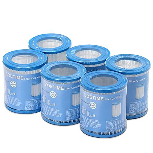 ZOETIME Cartucce filtranti per Piscina,Filtro per Piscina per Piscina Gonfiabile, Riutilizzabile per Piscina Spa (6 Pezzi)